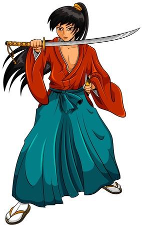 cartoon manga style samurai  Illustration