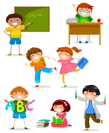 study desk: set of kids doing different things at school Illustration
