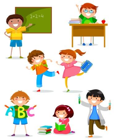 set van kinderen doen verschillende dingen op school