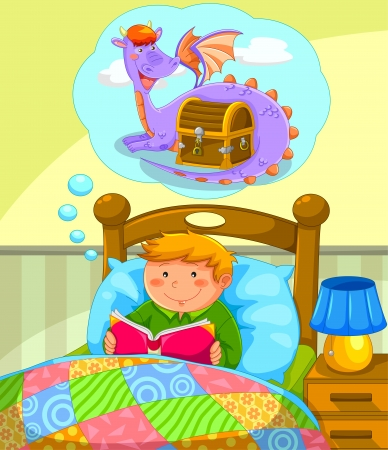 and activities: boy in bed reading a book about dragons Illustration
