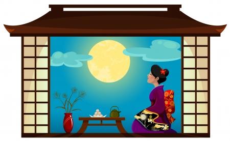 donna giapponese: Donna giapponese al tradizionale Tsukimi luna-watching Festival Vettoriali