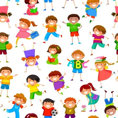 bimbi che giocano: senza soluzione di modello con i bambini dei cartoni animati Vettoriali