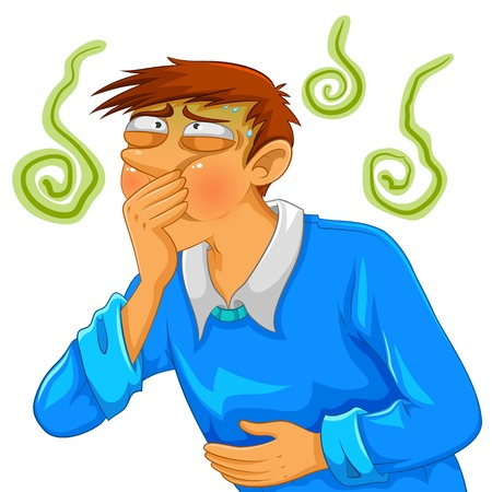 stomach pain: cartoon man feeling nauseous Illustration