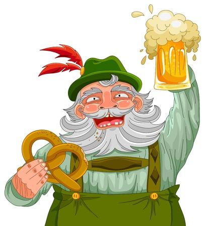 hombre tomando cerveza: hombre en ropas tradicionales alemanes que sostiene un oso y un pretzel