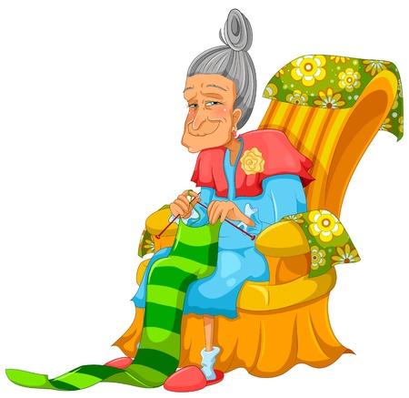 sofa viejo: feliz anciana que hace punto feliz