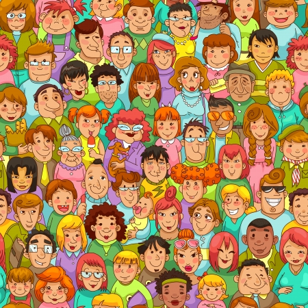 padrão sem emenda com pessoas dos desenhos animados Ilustración de vector