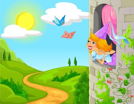 Princesse dans une tour de sourire aux oiseaux Banque d'images - 21420152
