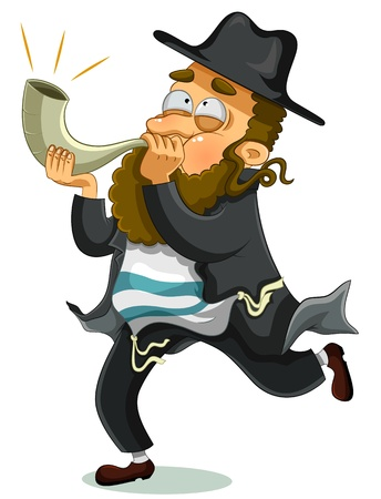 orthodox Jewish man with the traditional Shofar Vector