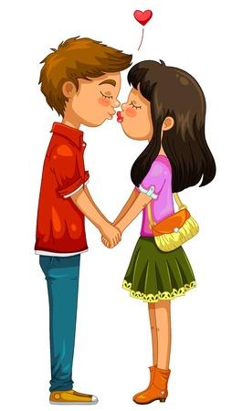 liefde: jongen en meisje hand in hand en zoenen Stock Illustratie