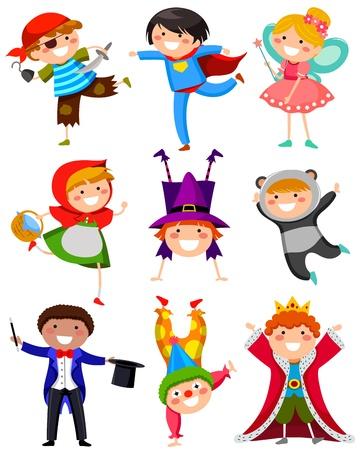 traje: conjunto de crianças vestindo trajes diferentes Ilustração