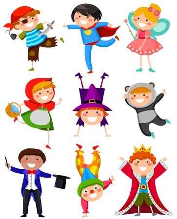 cartoon little red riding hood: set of kids wearing different costumes