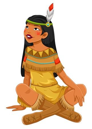 Chica americana nativa india Ilustración de vector