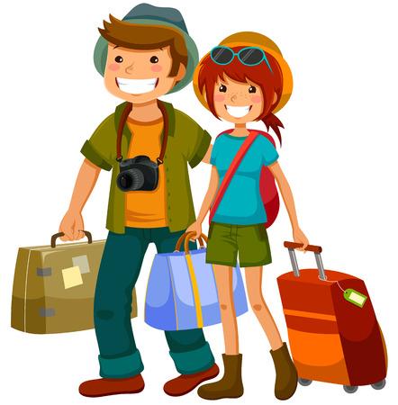 男と女が一緒に旅行  イラスト・ベクター素材