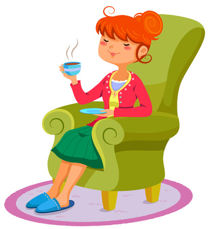 couch: woman relaxing on the sofa with a cup of hot drink