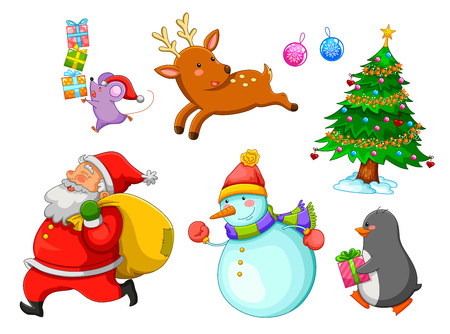 set of Christmas cartoons Vector