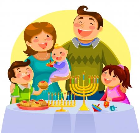 부모: Hanukah을 축하 행복한 가족