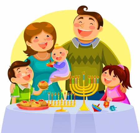 jews: happy family celebrating Hanukah Illustration