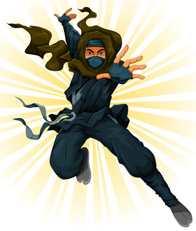 cartoon ninja in action Vector