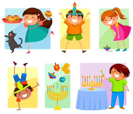 kids celebrating Hanukkah Иллюстрация