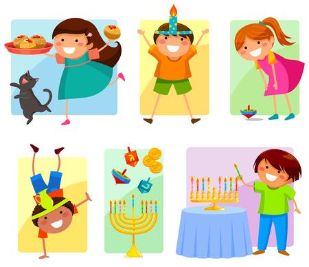hanukkah: kids celebrating Hanukkah Illustration