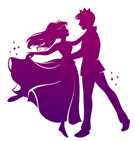 Silhouette du prince et de la princesse dansant ensemble Banque d'images - 23287016