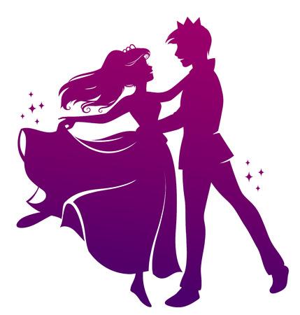princesa: silueta de pr�ncipe y princesa bailando juntos Vectores