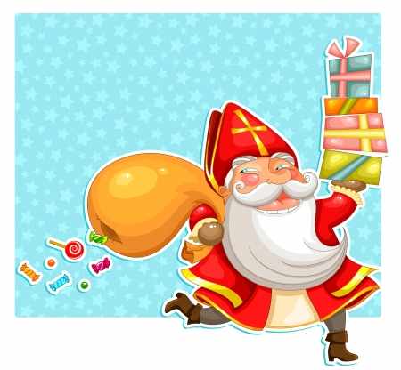 cartoon santa claus  st  Nicholas  carrying presents Vector