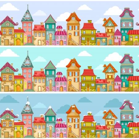 house: naadloze patroon met huizen Stock Illustratie