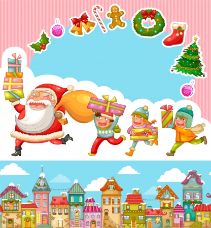 house of santa clause: Christmas cartoons and design elements Illustration