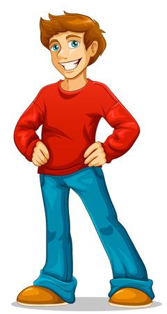 hombre: de dibujos animados hombre joven y feliz de pie con la mano en la cintura