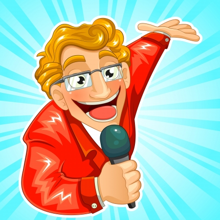 cartoon TV host holding a microphone and making a presenting gesture Çizim
