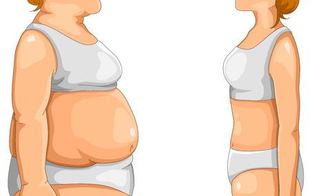 얇은 여자 앞에 서 뚱뚱한 여자 일러스트