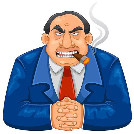 vieil homme assis: difficile riche patron de fumer le cigare Illustration