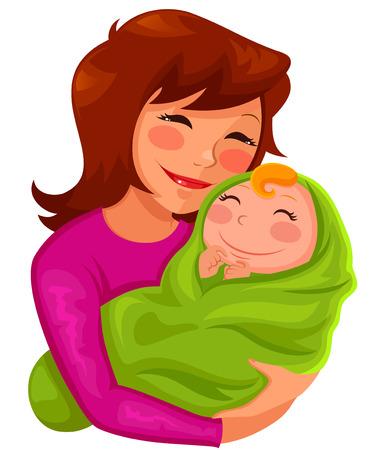 kisbabák: boldog fiatal anya átölelve baba Illusztráció