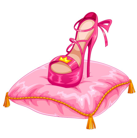 stylish princess shoe placed on an ornate pillow