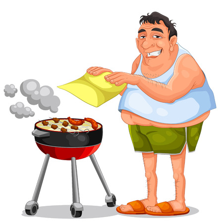 man doing a barbecue Vector