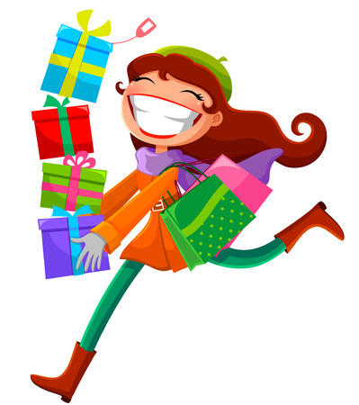 young woman carrying shopping bags and presents Vector