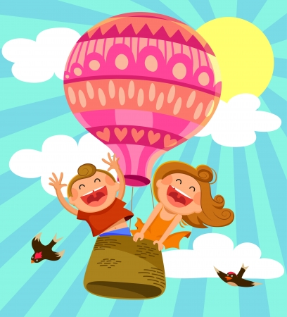 two happy kids flying in a hot air balloon Vector