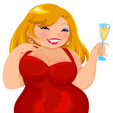 attractive curvy girl in a red dress holding a glass of drink Vector