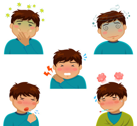 nauseous: person with sickness symptoms Illustration