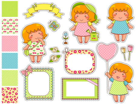 cute cartoon girls with a set of frames and swatches Vector