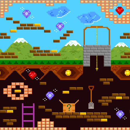 game design: seamless pattern of retro style video game Illustration