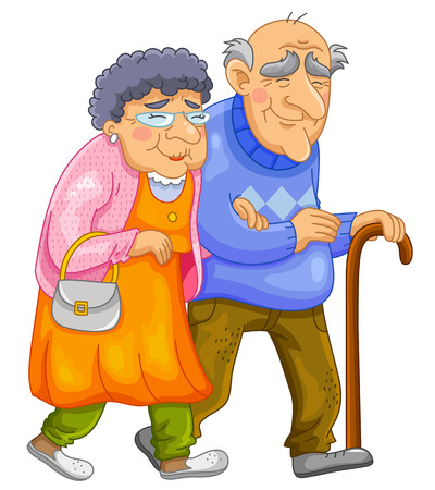 happy old age: old couple walking together Illustration