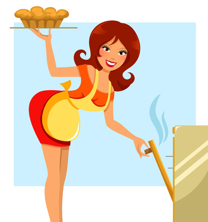 woman taking pie out of the oven Vector