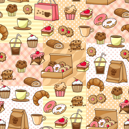 seamless pattern with coffee and bakery goods
