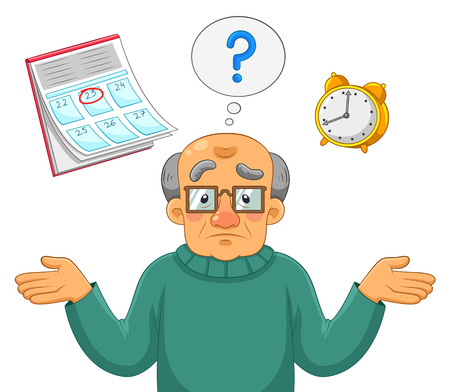 memory loss: old man being confused and forgetful Illustration