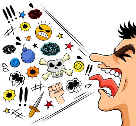 agression: homme de bande dessin�e en criant mal�dictions Illustration