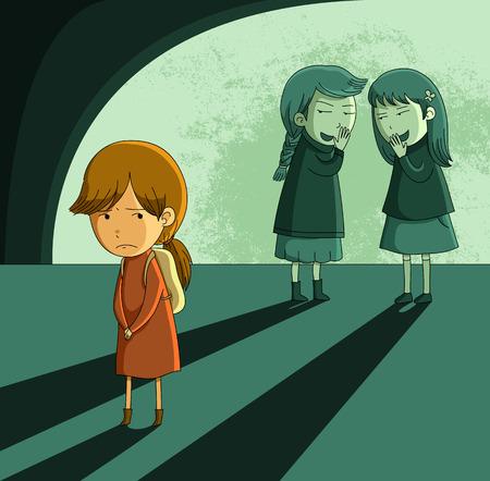 fille triste: petite fille est ostracisé par ses pairs