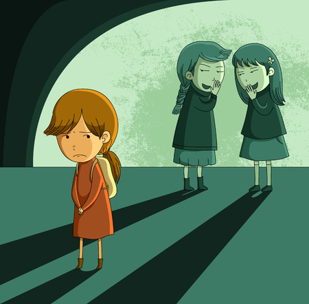wobei kleine Mädchen von ihren Kollegen ausgegrenzt