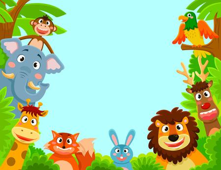 Bir çerçeveli arka plan oluştururken mutlu hayvanlar Çizim